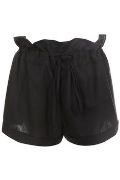 Ear Wood Waist Black Shorts. Description Black shorts, featuring ear wood waist, decorated with self-tied design, rolled cuffs, solid color, opaque styling. This shorts can match with any clothes if you like, and makes you leisured, can enjoy yourself freely, adds a different kind of color for your summer wardrobe, mix with your any types of shoes. Fabric Cotton. Washing 40 degree machine wash, do not bleach, do not tumble dry, cool iron on reverse, do not dry clean. #Romwe