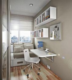 Resultado de imagem para quartos pequenos com escritorio