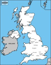 United Kingdom: free map, free blank map, free outline map, free base map : boundaries, nations, names (white)