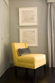 Accent Chair Nook with yellow chair, gray walls - artwork placement - Zoldan Interiors
