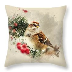 "American Tree Sparrow Watercolor Art 14"" x 14"" Throw Pillow by Christina Rollo.  Our throw pillows are made from 100% cotton fabric and add a stylish statement to any room.  Pillows are available in sizes from 14"" x 14"" up to 26"" x 26"".  Each pillow is printed on both sides (same image) and includes a concealed zipper and removable insert (if selected) for easy cleaning."