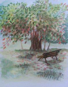 Otoño, ilustración en acuarela. Painting, Illustrations, Art, Painting Art, Paintings, Painted Canvas, Drawings