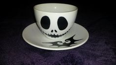 Jack Skellington Nightmare Before Christmas Handpainted Cup and Saucer Set
