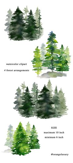 Watercolor Pine Trees, Christmas Clipart, Winter Clipart, Watercolor Conifers, F. Green Watercolor, Watercolor Trees, Watercolor Landscape, Watercolor Wedding, Watercolor Painting, Watercolor Cards, Winter Clipart, Christmas Clipart, Watercolor Christmas Tree