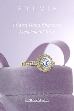 This stunning vintage inspired round flower engagement ring features a 1 carat round center stone surrounded by a floral halo for a feminine chic look. The total weight of this gorgeous halo engagement ring is 0.42 carats. Sylvie Engagement Rings Double Halo Engagement Ring, Vintage Engagement Rings, Vintage Rings, Thing 1, Unique Flowers, Gold Diamond Rings, Princess Cut Diamonds, 1 Carat, Hand Engraving