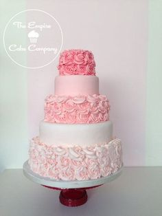 Pink ombre rose buttercream wedding cake by Banphrionsa