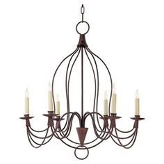 Chart House Small French Country Inn Chandelier in Natural Rust by Visual Comfort CHC1402NR