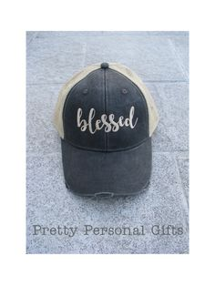 1ca492d34d05a Blessed Trucker Hat distressed baseball by PrettyPersonalGifts Hats For  Men