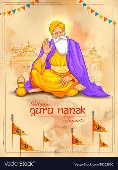 illustration of Happy Gurpurab, Guru Nanak Jayanti festival of Sikh celebration background Sikh Quotes, Gurbani Quotes, Guru Nanak Jayanti Wishes, Nanak Dev Ji, Celebration Background, Labour Day, Vector Icons, Royalty Free Stock Photos, Celebrities