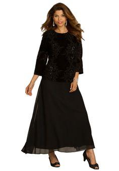 Velour Burnout Dress   Plus Size Special Occasion   Roamans
