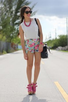 @roressclothes closet ideas #women fashion Floral Print Shorts