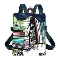 Walking Flower Ethnic Watercolor Floral Denim Backpack With Color Stripe A