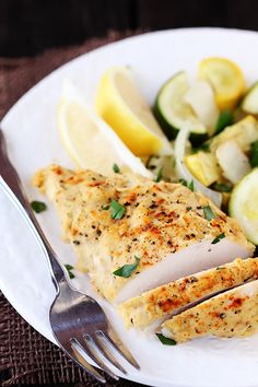 Hummus Crusted Chicken - develops a light crust on the chicken, and some of the extra oozes onto the veggies to give them a little extra sauce to go with the light lemony flavor. You could easily add some extra herbs, or balsamic, or even a little white wine to go with this.