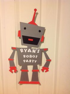 Robot Birthday Party Sign