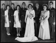 Wedding of US Marine and Medal of Honor recipient John Basilone and Marine Sergeant Lena May Riggi. Shortly after, Basilone shipped out to the Pacific and fought on Iwo Jima where he was killed in action. Lena Basilone never remarried and died at the age of 86.