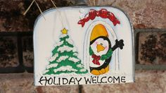 Painted Christmas shovel Penguin Holiday Welcome by MyPaintedSwan