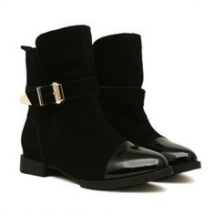 $35.47 Stylish Women's Short Boots With Patchwork and Buckle Design