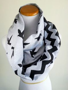 Black Bird Chevron Infinity jersey knit Scarf