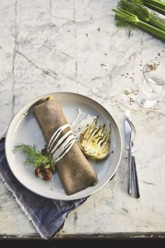 Fennel Buckwheat Crepes: Brussels Sprouts & Shiitake, Fennel Mornay Sauce via Princess Tofu