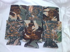 The Hunt is Over Camo Wedding Koozies by odysseycustomdesigns