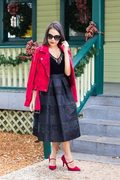 Elegant holiday outfit. Glitter midi skirt. Red suede moto jacket. Velvet bodysuit. Red suede heels. For more fashionable outfits go to stylishlyinlove.blogspot.com