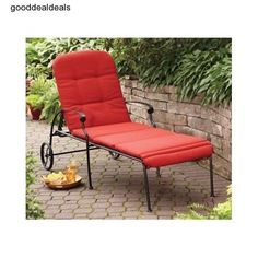 Chaise Lounger Chair Cushion Lounge Red Outdoor Patio Furniture Wicker Pool Deck