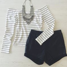 White/Black Striped Off Shoulder Top Brand new Tops Tees - Long Sleeve