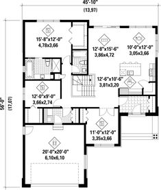 Browse our large selection of house plans to find your dream home. Modifications and custom home design are also available. One Level House Plans, House Plans And More, Small House Plans, House Floor Plans, Stone Kitchen Island, Cottage Plan, Cottage Ideas, Surface Habitable, Contemporary Style Homes