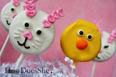 I love these Easter Oreo suckers from How Does She. Easy, yummy and totally adorable. You simply dip Oreos in melting chocolates and embellish. It doesn't get cuter or easier than that