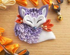 Tsumami zaiku brooch. Cute sleeping fabric fox. by MomoKanzashi