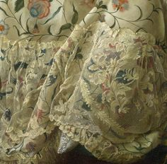 Lace flounce detail to gown, and point of shoe. Detail from Madame de Pompadour at her Tambour Frame  1763-4, François-Hubert Drouais. (c) The National Gallery