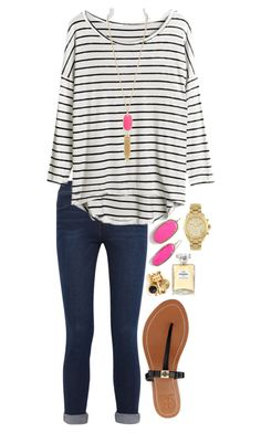 Could I be more simple? by neanariley on Polyvore featuring polyvore, fashion, style, Frame Denim, Tory Burch, Michael Kors, Kendra Scott and Chanel