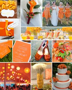 Orange wedding theme. View more tips & ideas on our Facebook Page : https://www.facebook.com/BoutiqueBridalParty