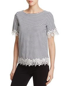 Three Dots Lace Trim Stripe Top