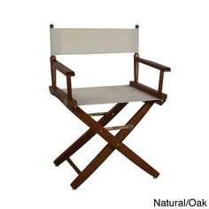 American Trails Extra-Wide Premium 18-inch Director's Chair (Natural, Mission Oak Frame), Brown (Cotton)