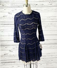 44bcdc073 NWT $58 TRIXXI Navy Blue Lace Over Nude/Beige Lining Dress Juniors Small  #fashion