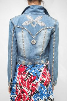 Boho noche Rhinestone chaqueta de Jean / bordado piedras Denim