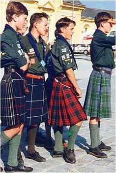 """Scottish Boy Scouts - """"Healthy Christian moral values make for happier kids & and a better and peaceful world. Scottish Skirt, Scottish Man, Scottish Tartans, Les Scouts, Tweed, Scotland Kilt, Men Wearing Skirts, Men In Kilts, Kilt Men"""