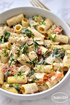 Creamy Dijon Chicken Pasta with Sun Dried Tomatoes and Spinach recipe via firsthomelovelife.com #pastafoodrecipes