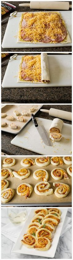 Ham Cheddar and Rosemary Pinwheels Ingredients cup Dijon mustard 2 Tablespoons honey 1 Tablespoon finely chopped rosemary teaspoon pepper 1 sheet frozen puff pastry 6 thin slices ham 1 … Appetizer Recipes, Snack Recipes, Cooking Recipes, Snacks, Easy Recipes, Pinwheel Recipes, Pillsbury Recipes, Good Food, Yummy Food