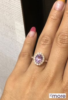Stunningly gorgeous lavender purple sapphire engagement ring is crafted in rose gold Luna Halo Diamond ring setting with a large carat oval cut natural… Diamond Ring Settings, Halo Diamond, Purple Sapphire, Lavender, Fashion Jewelry, Rose Gold, Engagement Rings, Style, Enagement Rings
