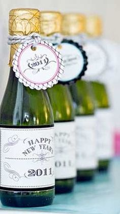 Mini champagne bottles for everyone! new years eve wedding for @Tiff Nowetner & Sean