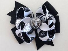 Girls Oakland Raiders Football Hair Bow by MommysBowCreations, $7.50