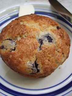 I really like the dusting of chunky sugar on the top of these yummy Gluten-free Blueberry Muffins. #food #muffins #blueberry #baking #breakfast #brunch #dessert #gluten_free