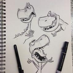 dinosaur illustration T-Rex pt. Cartoon Sketches, Animal Sketches, Animal Drawings, Cartoon Art, Cute Drawings, Drawing Sketches, Drawing Ideas, Dino Drawing, Girl Cartoon