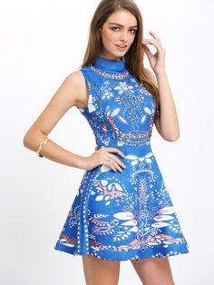 Blu girocollo stampa azteca Vestito svasato