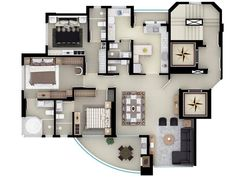 Lindo Best House Plans, Modern House Plans, Small House Plans, House Floor Plans, Apartment Floor Plans, Bedroom Floor Plans, Plans Architecture, Architecture Design, Home Design Plans