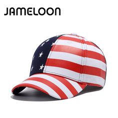 [JAMELOON] fashion quality PU Faux Leather baseball cap Striped Printing star American buckle Hat for women Baseball Cap men