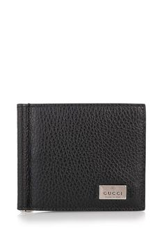 Black leather wallet from Gucci featuring a metal tag with engraved logo, six card slots and an interior money clip. Money Clip Wallet, Gucci Wallet, Designer Collection, Leather Wallet, Belts, Wallets, Card Holder, Black Leather, Luxury Fashion