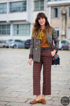 lou-doillon-by-styledumonde-street-style-fashion-photography mix of patterns Street Style 2017, Street Style Trends, Street Style Vintage, Street Style Chic, Lou Doillon, Fashion Week Paris, Milano Fashion Week, Milan Fashion, Hipster Grunge